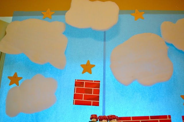 Mario party backdrop clouds