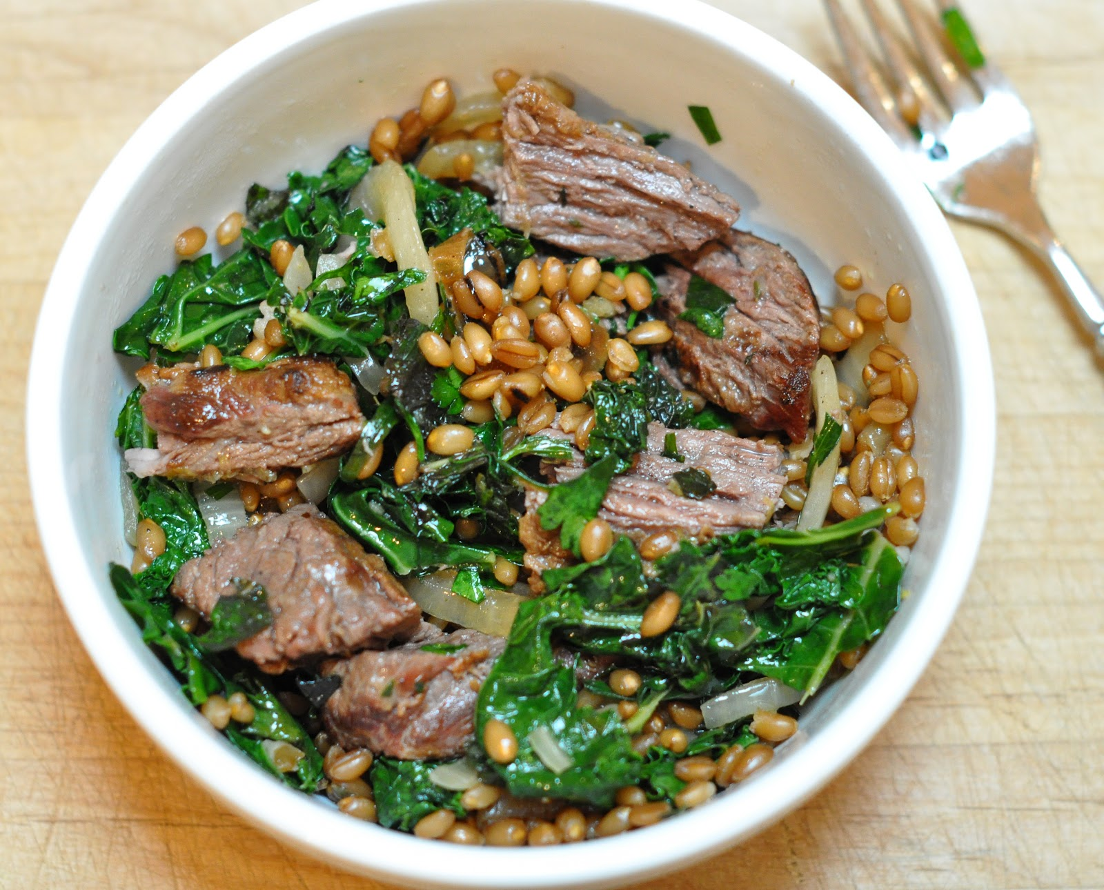 wheat berries with charred onions and kale - Marin Mama Cooks