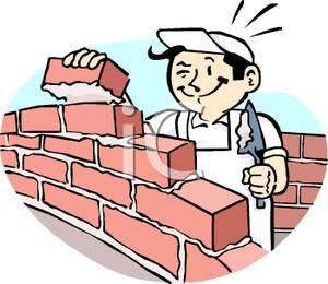 Cartoon bricklayer at work building a brick wall 091123 222403 866012