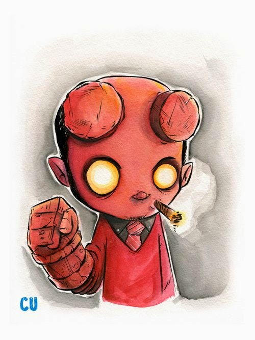 14-Hellboy-Chris-Uminga-Game-of-Thrones-Watercolours-www-designstack-co