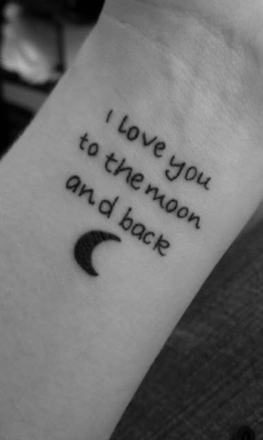I love you to the moon and back writing tattoo on wrist