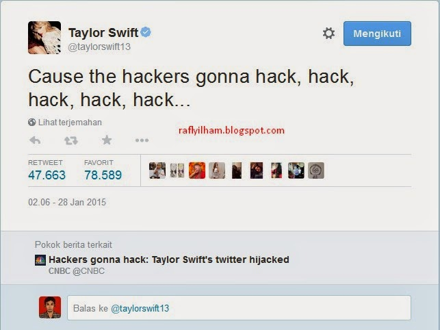Akun Twitter Taylor Swift di Hack