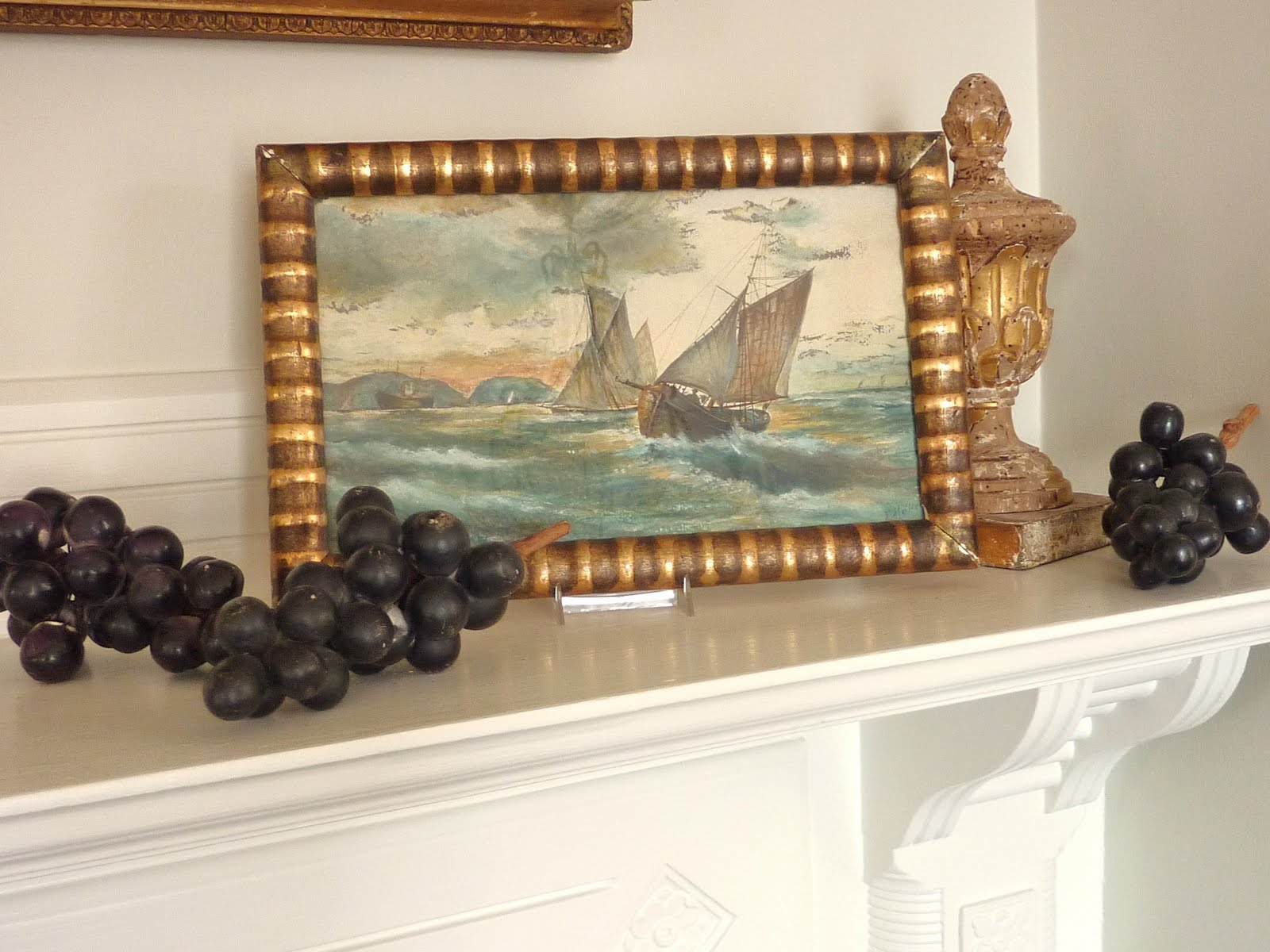 Small antique watercolor behind glass in its original frame found in