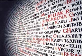 Wall of Names in the Pinkas Synagogue inside the Jewish Quarter, Prague, Czech Republic