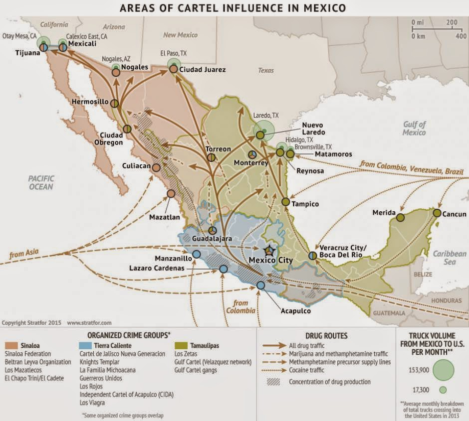 Cartel maps spanning five years including 2015