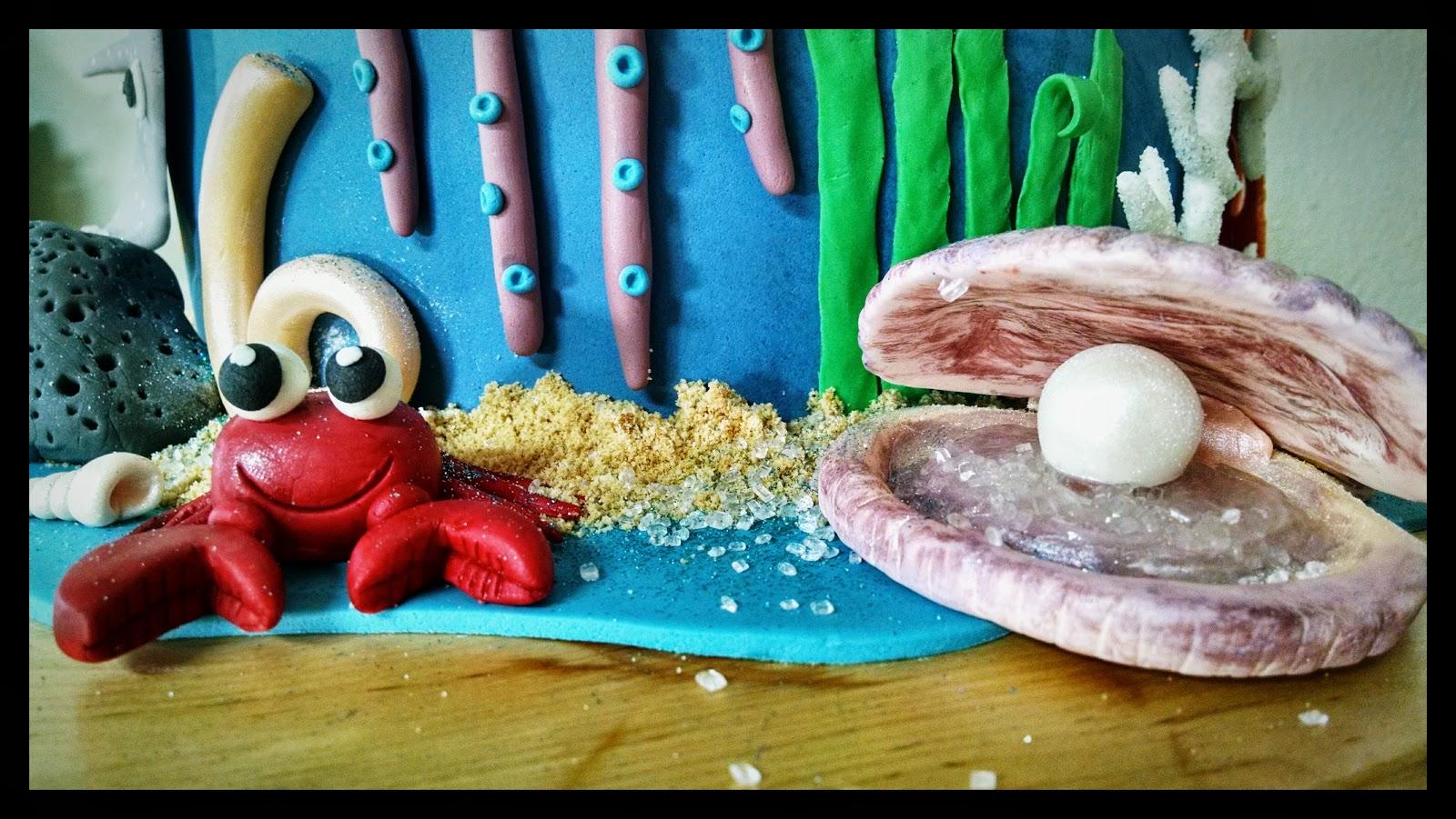 Cangrejo y ostra de fondant