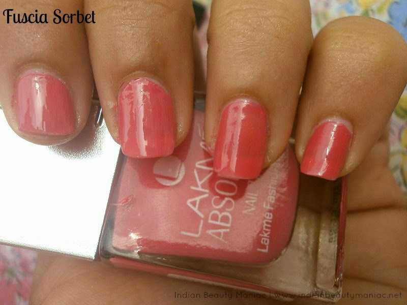 Lakme Absolute Nail Tint in Fuscia Sorbet review, Swatch