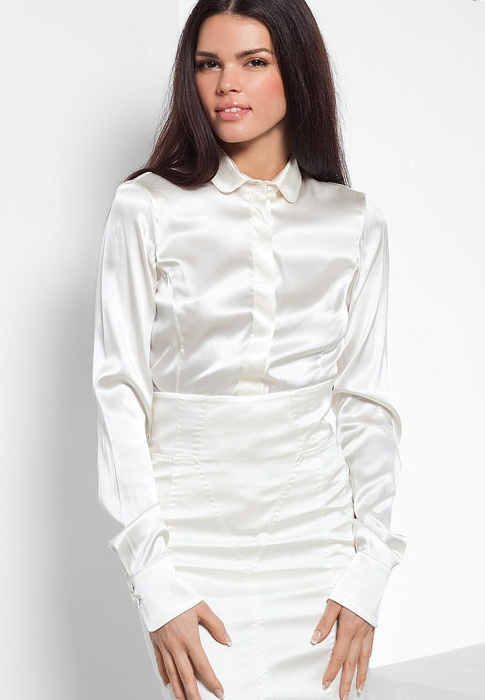 Womens White Satin Blouse 50