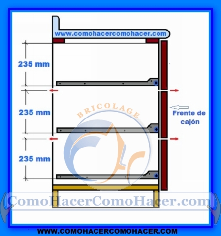 Muebles de cocina detalle para instalar cajones for Medidas de muebles de cocina integral