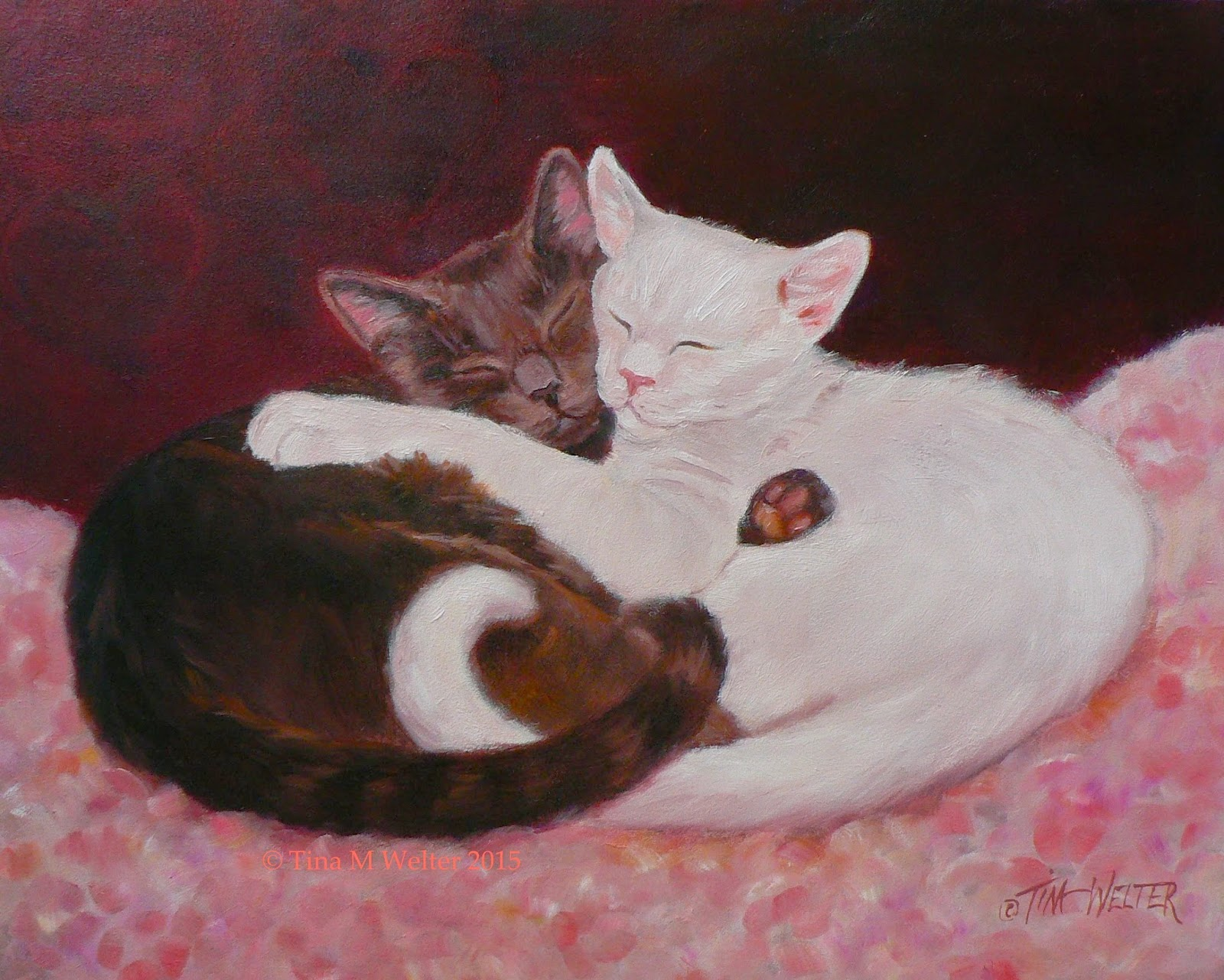 """Best Friends"" 8""x 10"" oil on gessobord, ©2015 Tina M Welter  Grey and White cats together on flowered pillow and red violet background with hearts."