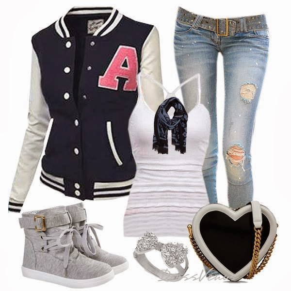 Black and white cardigan, white blouse, ripped jeans, warm shoes and heart handbag for fall