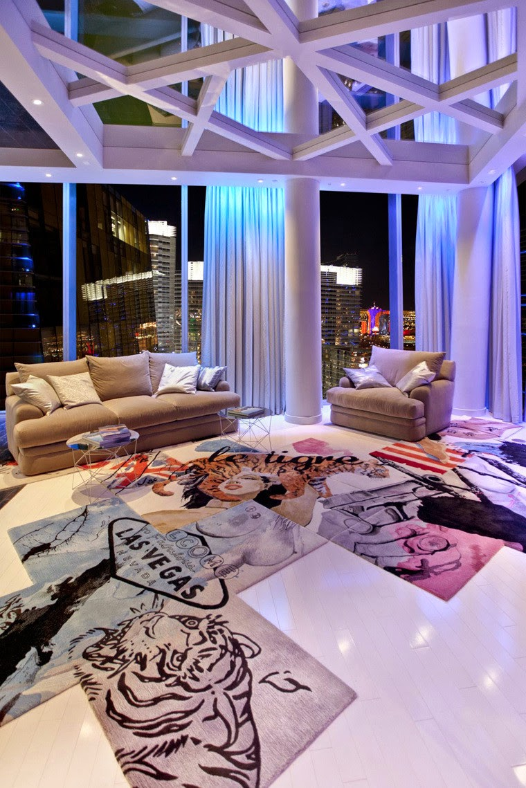 penthouse club design home nightclub Chemical Spaces, modern art rug