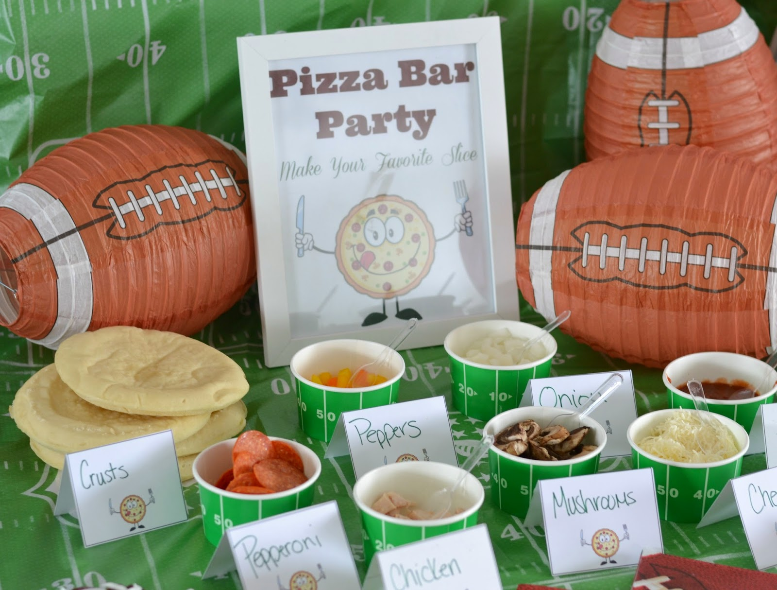 Host a pizza bar free printables building our story for Food bar party ideas