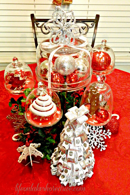 "alt=""Cupcake stands, Christmas table setting, cookie cutters, red and silver"""