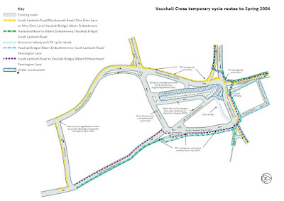 Vauxhall Cross temporary cycle routes to Spring 2004 on lambethcyclists.org.uk