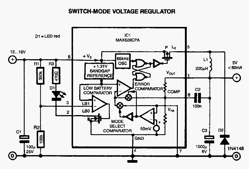 Switch Mode Voltage Regulator Circuit Diagram