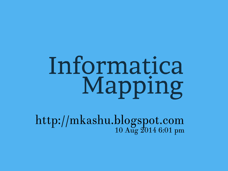 Mapping of Informatica