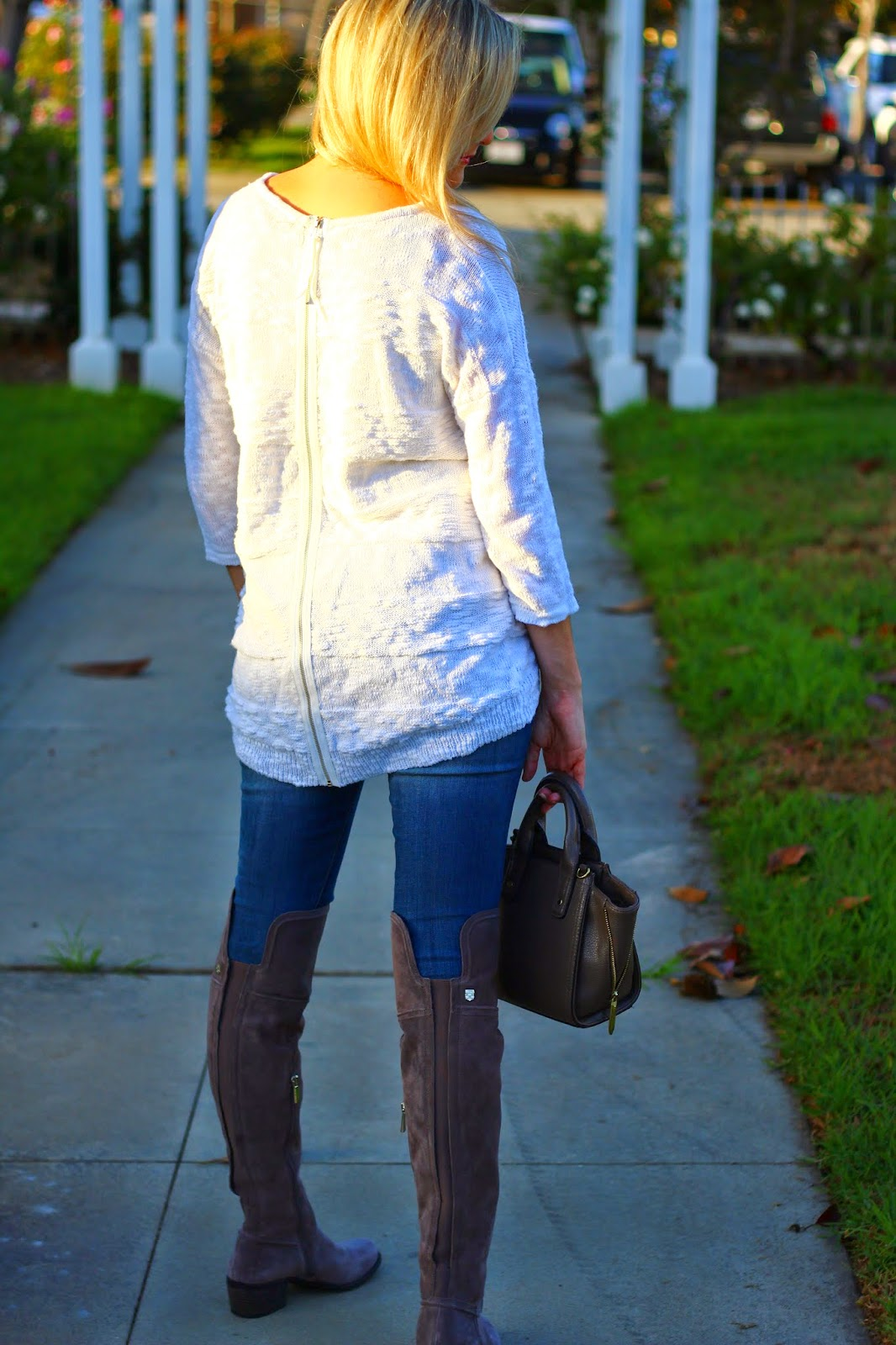 Baldwin Over the Knee Boot, Nordstrom, White Sweater