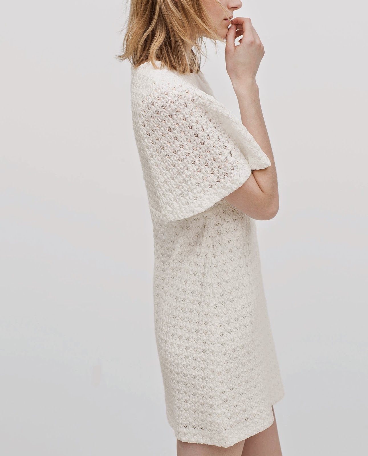 zara white crochet dress