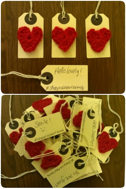 craftypainter: Sheepish heart bomb, crochet heart tags
