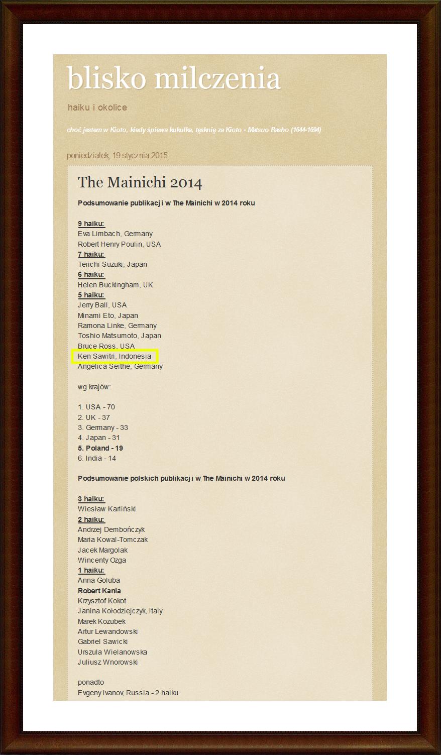 "2014 : Five Haiku Published in ""The Mainichi"""
