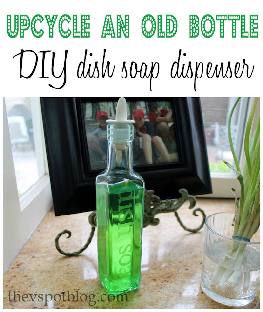 DIY etched glass dish soap dispenser.