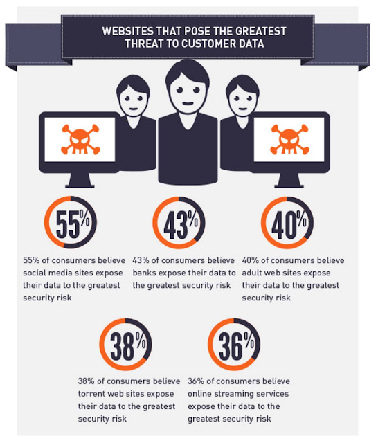 Part of a Gemalto infographic showing that 55% of consumers believe social media sites expose their data to the greatest risk.