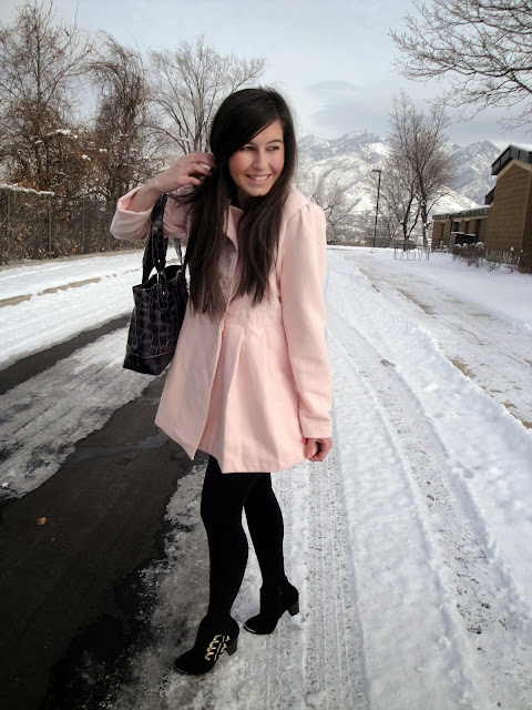 ankle booties, ankle boots, booties, heavy coat, pink coat, ruffle coat, target, bag, snow, snow days, snowy,