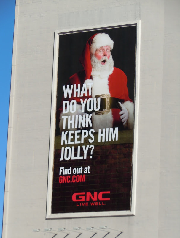 GNC Jolly Santa billboard