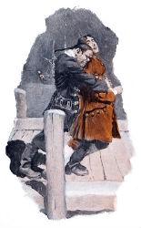Dessin, bagarre, hommes, dessin, michael jackson, proces, Howard Pyle, 1908
