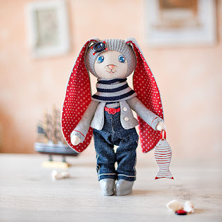 зайка, заяц, игрушка, текстиль, тильда, текстильная игрушка, Буслова Евгения, рукоделие, хендмейд, сделай сам, ручная работа