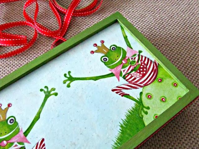 piórnik na kredki decoupage motyw żaby decoupage box