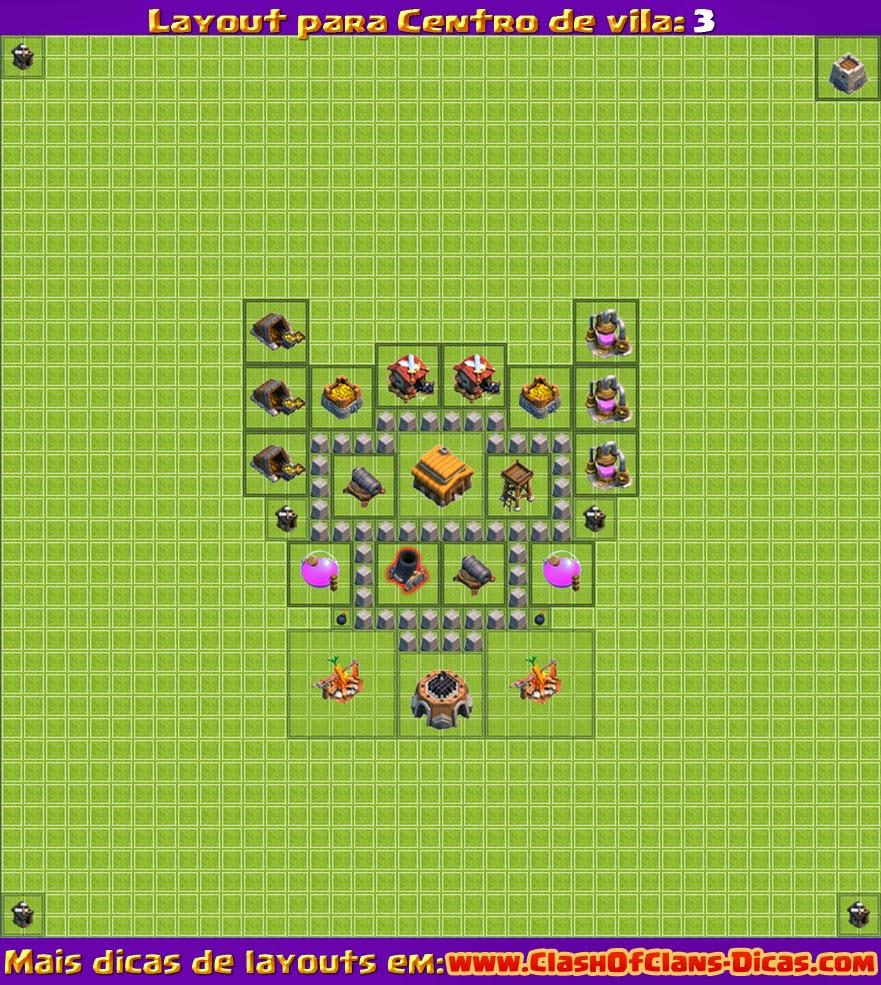 SóClashBR: Dicas para Clash of Clans: Layout Para CV3