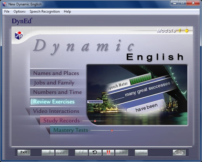 dyned module review Study guide new dynamic english wwwdynedcom module 1 2 contents introduction 3 course structure 4 purpose of this guide 5 study tips 6 getting started 7 before using speech recognition 9 how to use speech recognition 10 names and places 12 jobs and family 20 numbers and time 25 review exercise 28 video interactions 34 appendix a: about speech recognition technology 36 appendix b: verb.