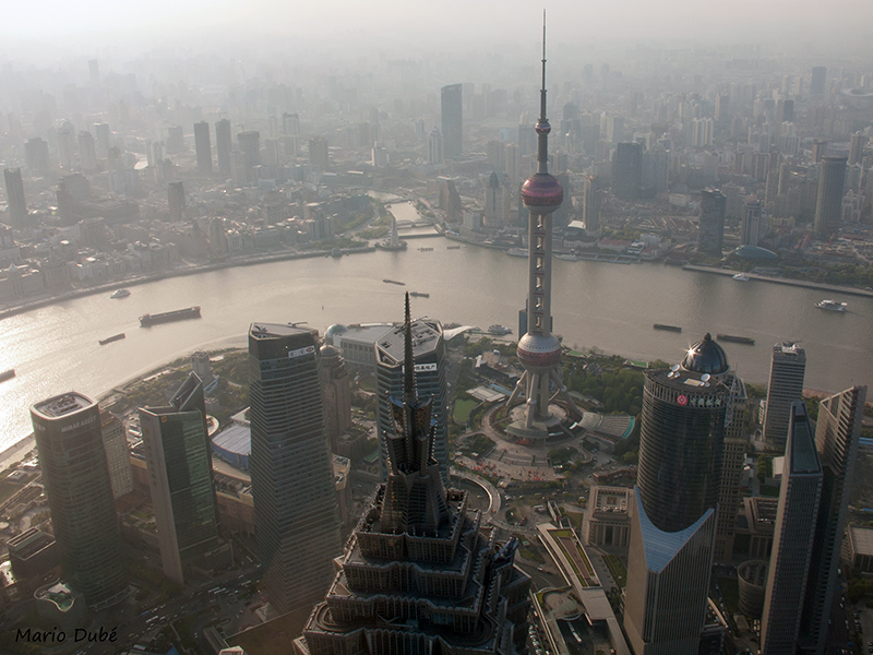 La vue sur Shanghai du sommet du World Financial Center