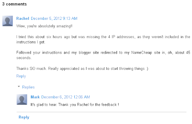 Screenshot: example of Blogger (blogspot.com) two-level commenting reply ability