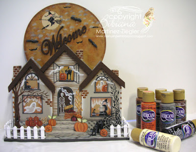 wood halloween house acrylic paints