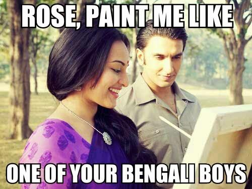 Ranveer Singh Sonakshi Sinha Lootera Bollywood Meme Titanic Painting Funn