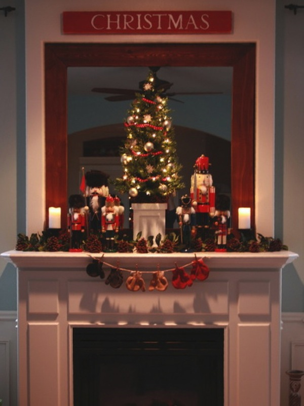 Cool  Classic Christmas fireplace decoration with tree socks candles bells stars