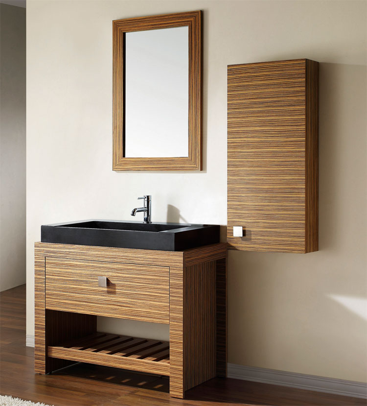 Luxury Bathroom Vanity Single Sink Cabinet Dark Walnut Finish  Bathroom
