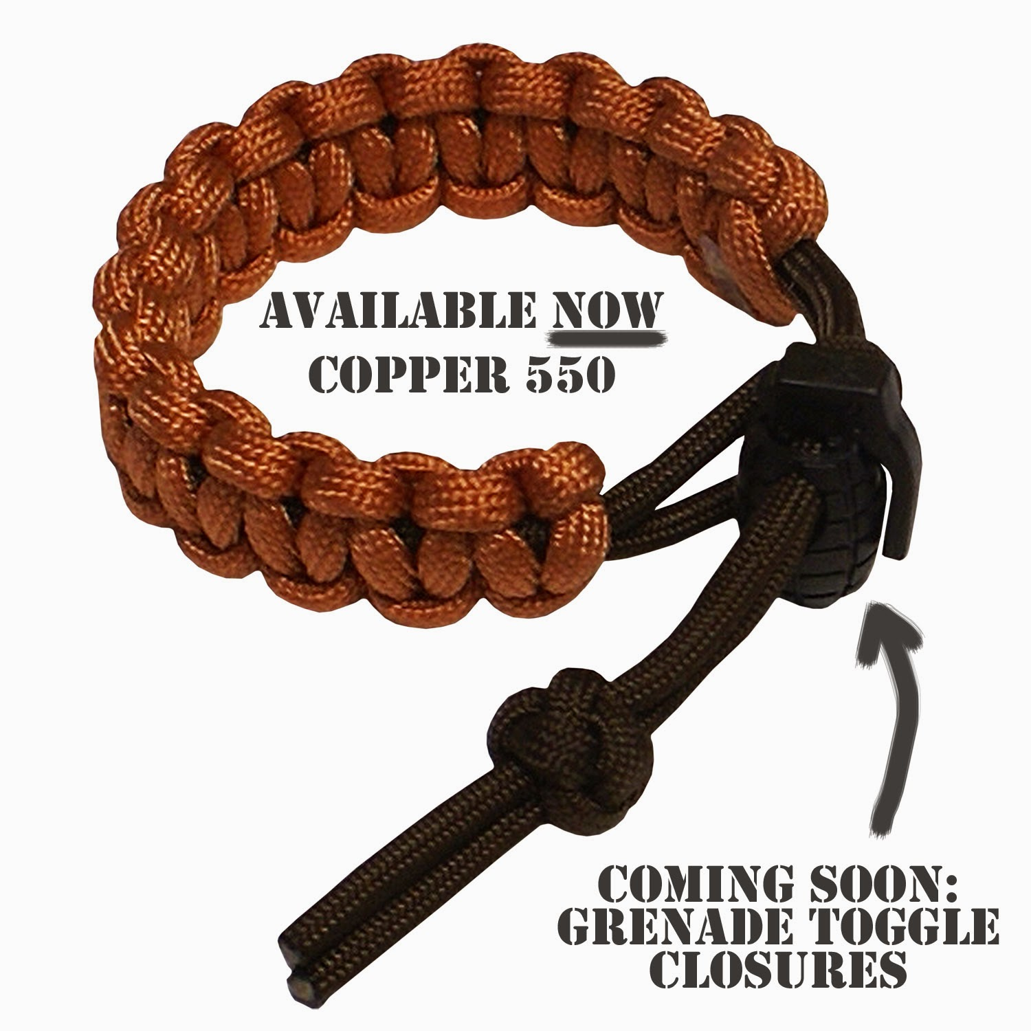 Copper 550 Parachute Cord and Grenade Toggle Closure