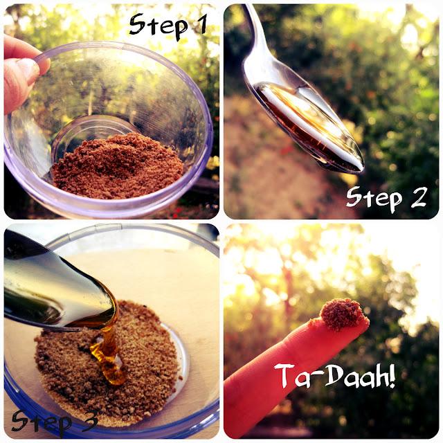 DIY sugar lip scrub tutorial with honey for dry lips