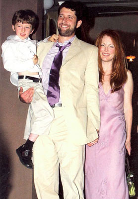 Julianne Moore marriage Bart Freundlich wearing lavender Prada wedding dress