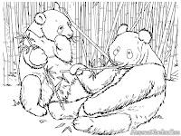 Gambar Mewarnai 2 Ekor Panda Sedang Makan Bambu