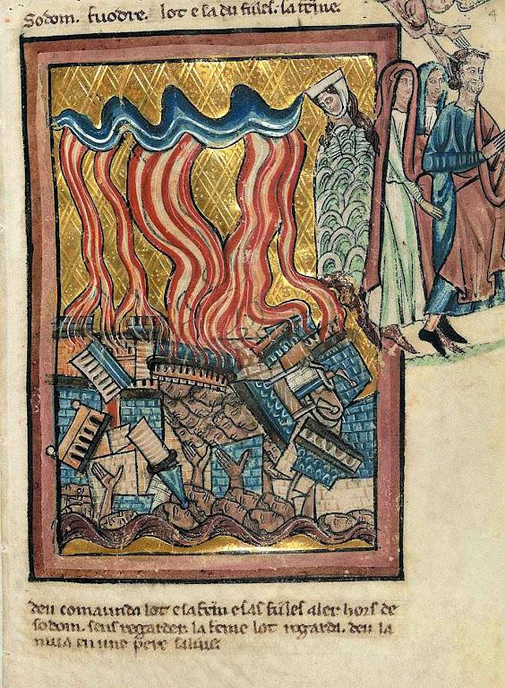 A destruição de Sodoma, segundo iluminura do século XIII. William de Brailes (1230 – 1260)