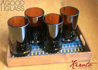 recycled glasses made from bottles in Uganda by Good Glass