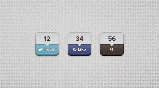 Share Buttons PSD