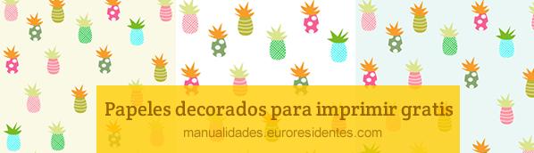 Papel decorado con dibujos de piñas (ananas)