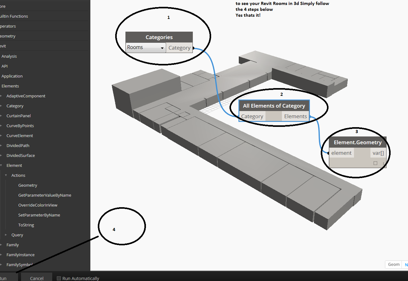 Want to view your Revit Rooms in 3D? You cant in Revit… Use DynamoBIM
