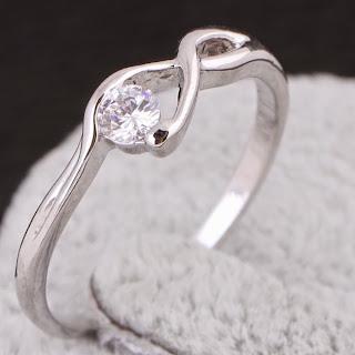 1.5g White Cubic Zirconia Infinity Ring 18k Yellow Gold /Platinum Plated Ring